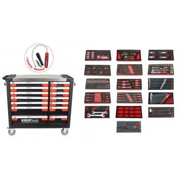 TOOL CABINET 14 DRAWERS +16 MODULES +2 WORK LIGHTS